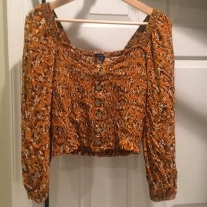 American Eagle floral smocked peasant blouse